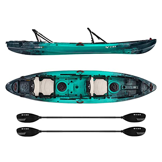 Vibe Kayaks Yellowfin 130T 13 Foot Tandem Angler and Recreational Two Person Sit On Top Fishing Kayak (Caribbean Blue) with 2 Paddles and 2 Hero Comfort Seats - Journey Paddles