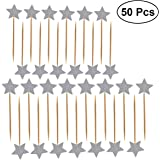 Ultnice 50 Lids Stars Cake Topper Glitter Birthday Cake Decoration Toppers (Silver)