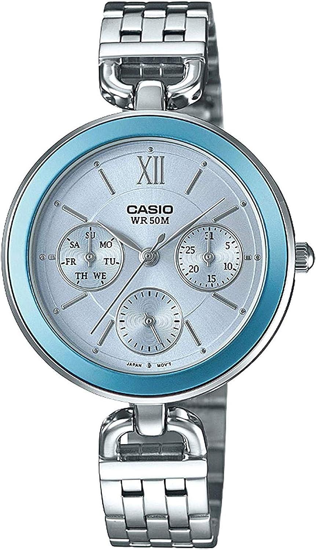 Casio Ltp-e406d-2avdf Reloj Analógico para Mujer Colección Collection Caja De Metal Esfera Color Azul