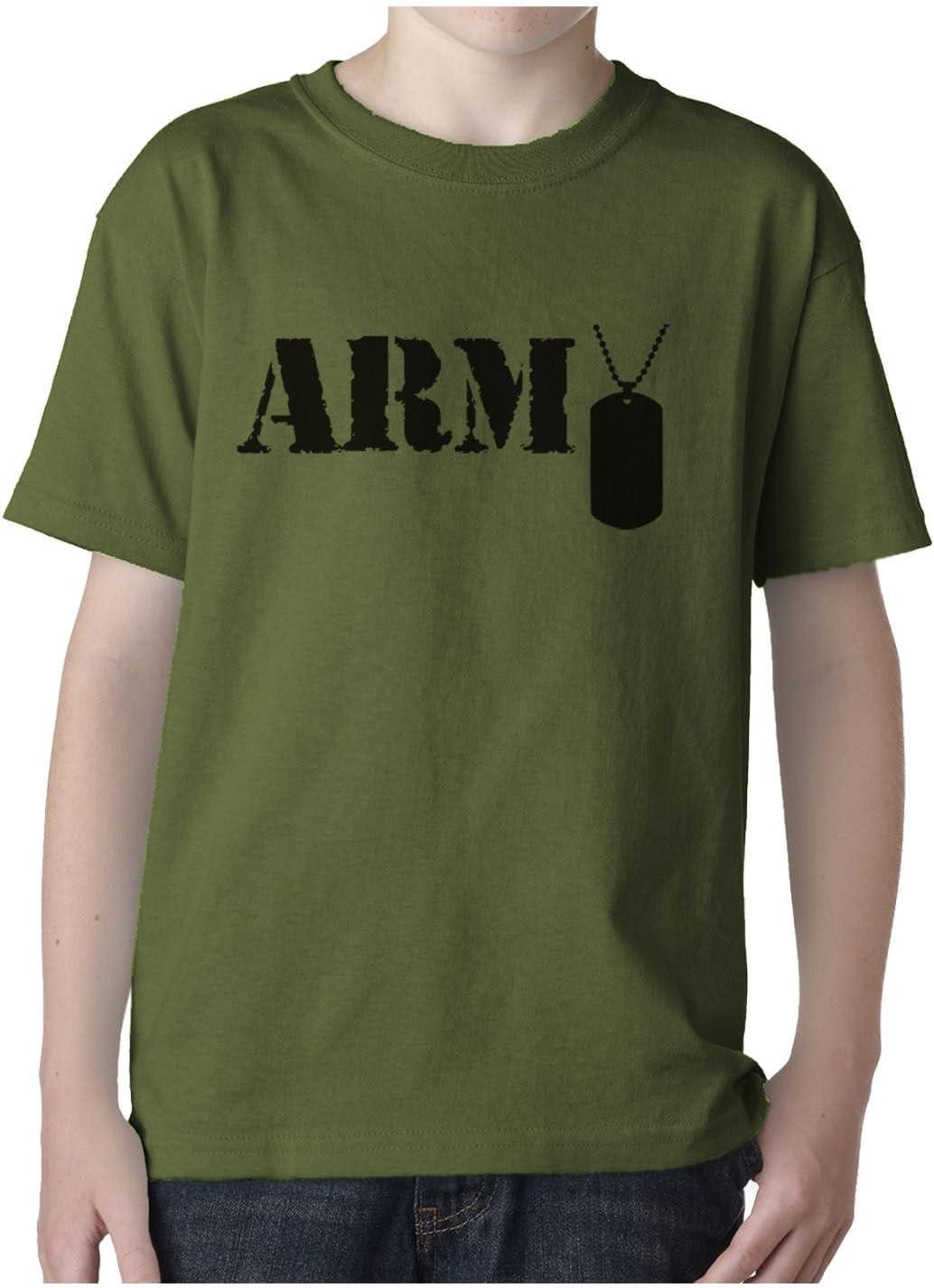 CL Distribution Kids Verde Oliva Camiseta – ejército Estilo Militar Dog Tags Verde Verde Oliva Grande: Amazon.es: Jardín