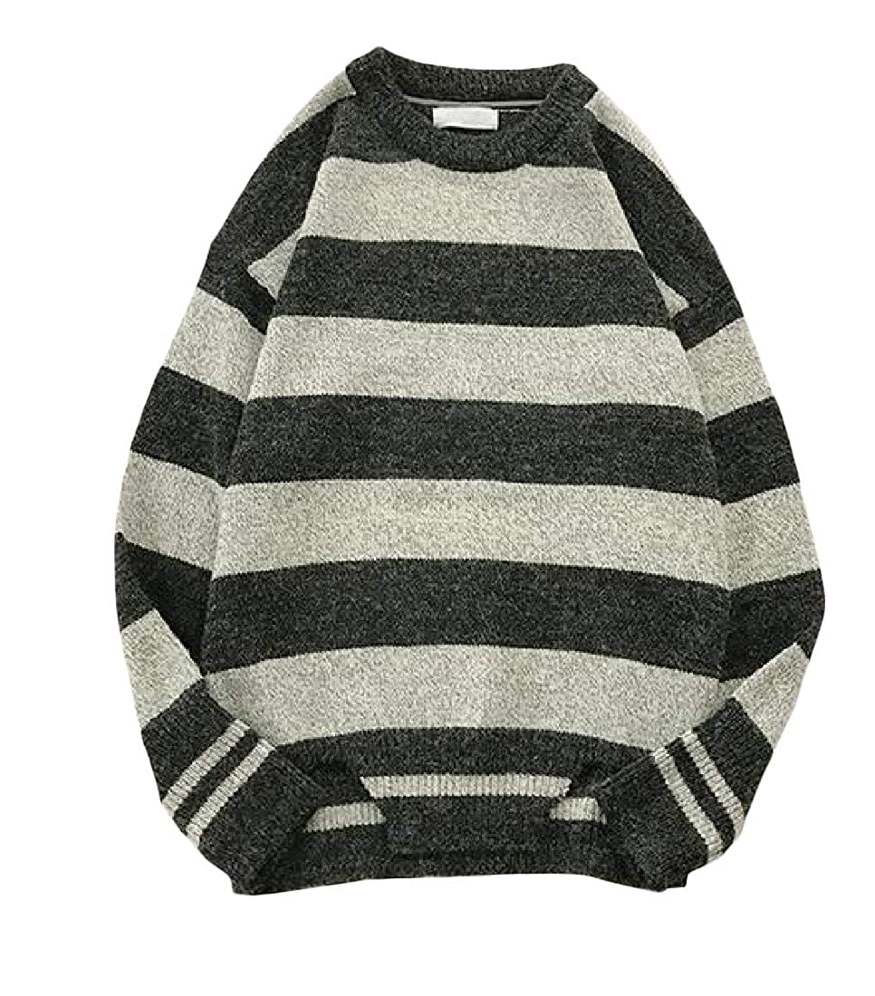 Macondoo Mens Round Neck Long Sleeve Striped Pullover Knitted Sweater