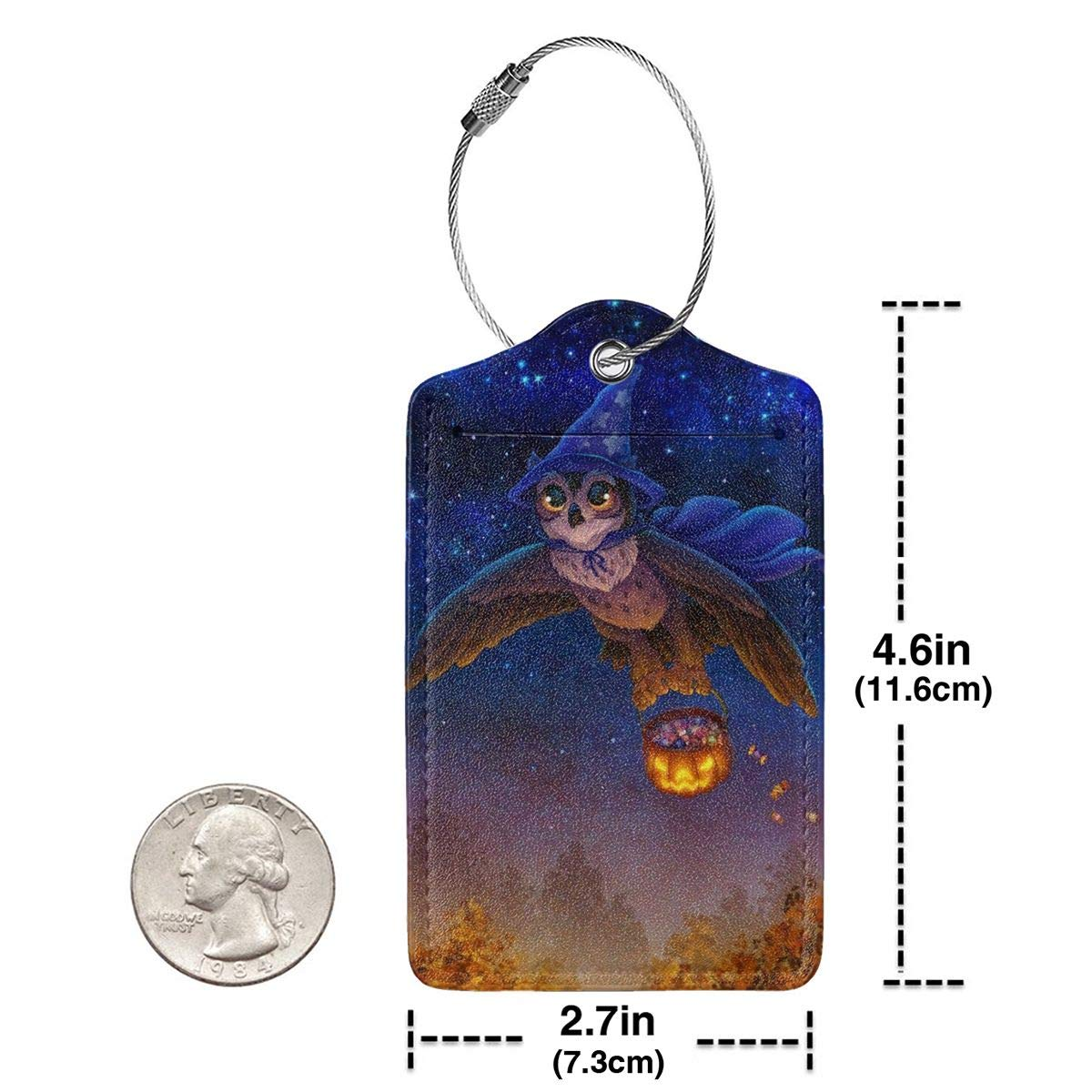 Luggage Tags Leather Case Suitcase Label With Stainless Steel Loop Bag Baggage Tote Tags Travel Tags Halloween Magic Owl Pumpkin Flying set of 4