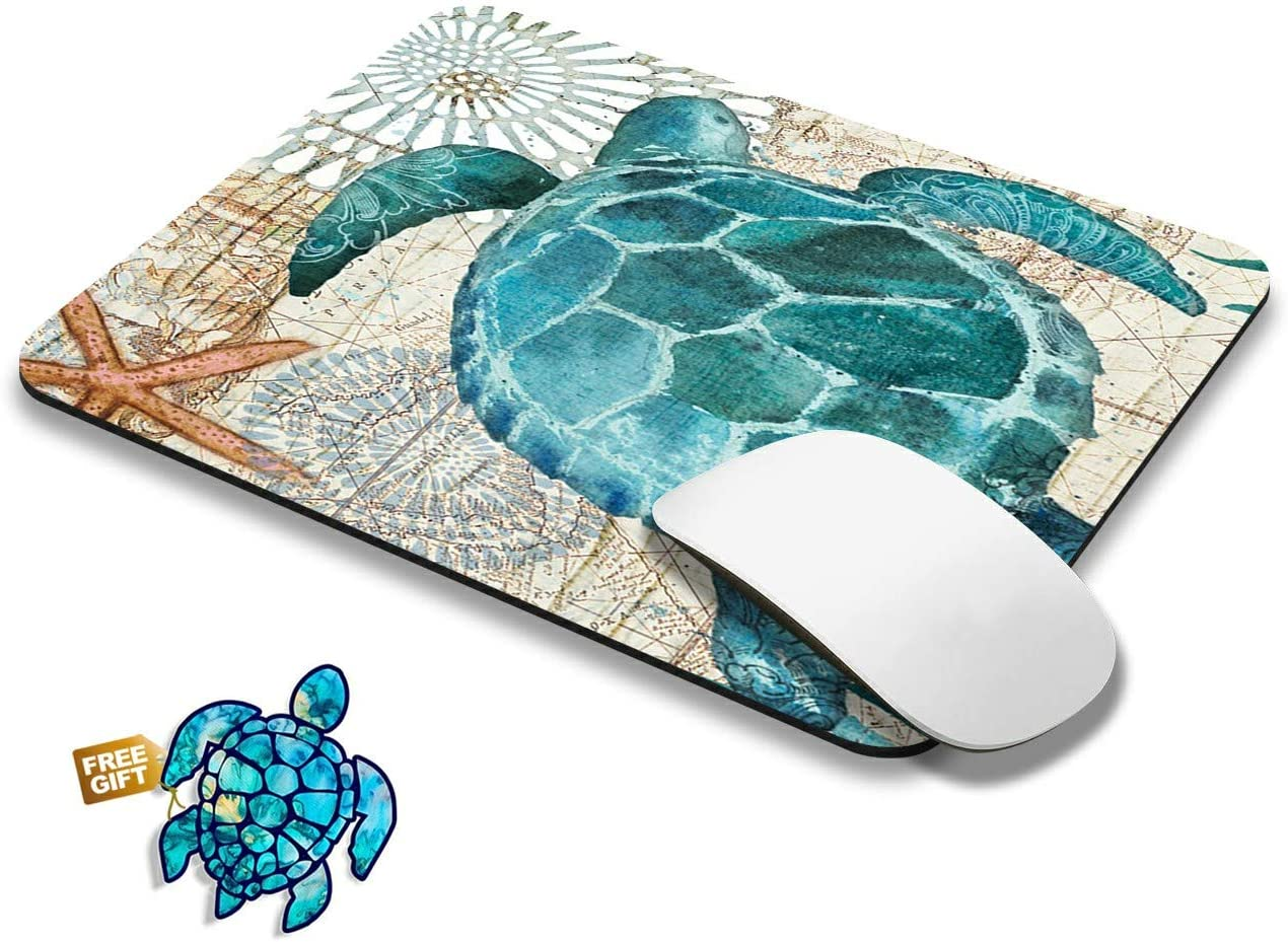 Gaming Mouse Pad Mat Baby Sea Turtle Small Mousepads with Cute Stickers Non-Slip Rubber Base Square Mouse Pads for Laptop Compute Working Home Office Accessories
