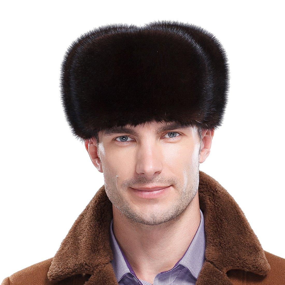 URSFUR Premium Mink Fur Russian Ushanka Trapper Hats (One Size Fits All, Natural Color)
