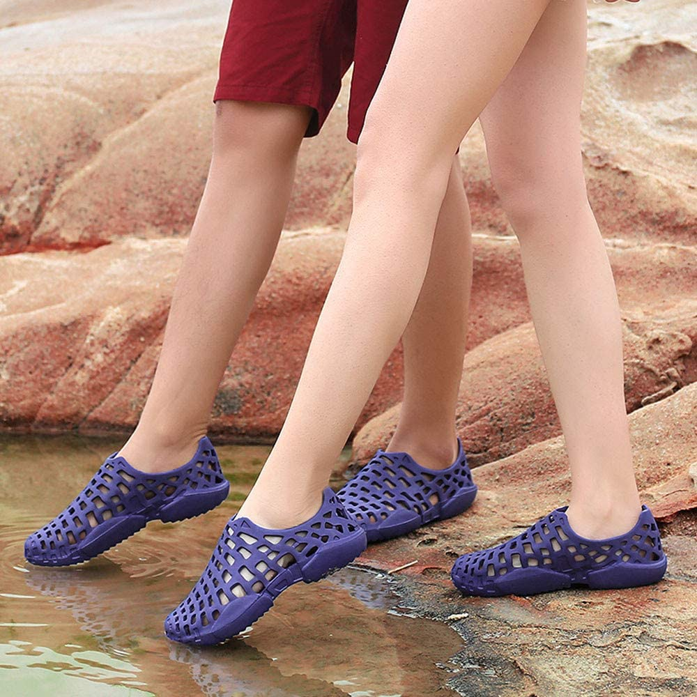 Yomiafy Unisex Solid Color Clogs Hollow Out Breathable Sandals Couple Beach Casual Water Shoes