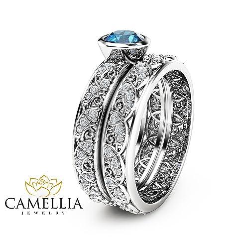 Amazoncom London Blue Topaz Engagement Ring Set in 14K White Gold