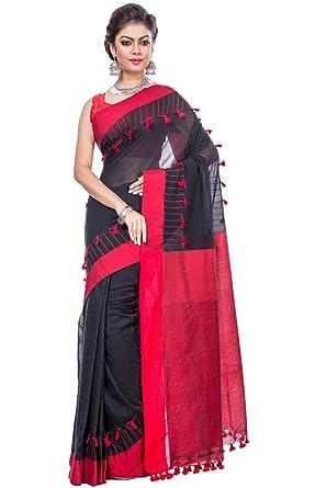 9943060f8e7 Mou Butik Women s Khadi Cotton Pom Saree with Blouse Piece (mbtj-008 ...