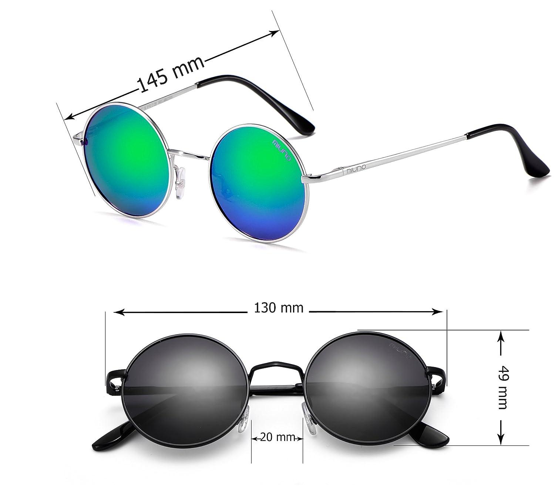 Miuno® Sonnenbrille mit runden Gläsern UV400 Herren Damen mit Etui Nickelbrille Federscharnier 8088 (Gestell: mattschwarz/Glässer:silberverspiegelt) 2non5