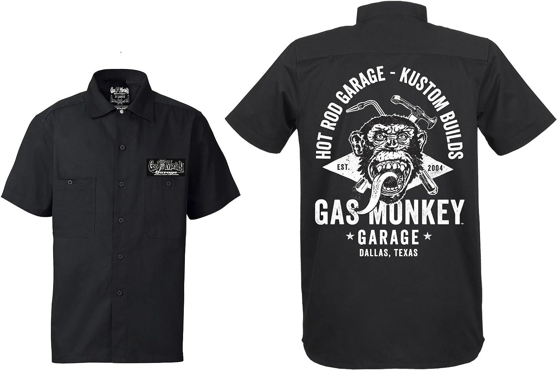 Gas Monkey Garage Workershirt Front Torch Hammer Black Bekleidung