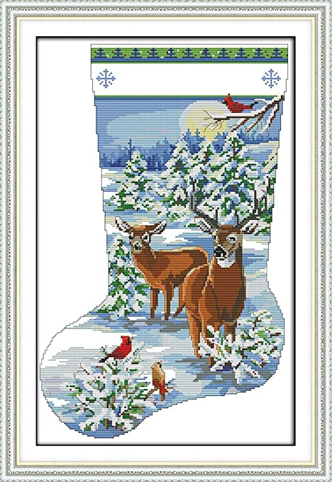 Snow View CaptainCrafts New Cross Stitch Kits Patterns Embroidery Kit Christmas Stockings WHITE