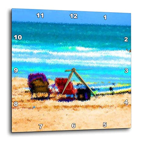 3dRose DPP 182065 _ 1 Playa Escena de sillas Tablas de Surf abstractas Paraguas Arena océano