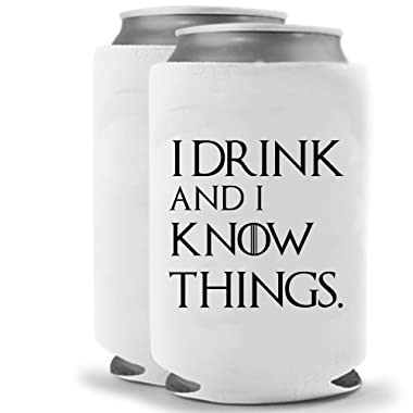 Cool Coast Products - Tyrion Lannister - I Drink and Know Things | Set of Two (2) Funny Novelty Hugger Coolie Huggie - Game of Thrones Theme | Beer Beverage Holder | Beer Gifts | Neoprene Can Cooler