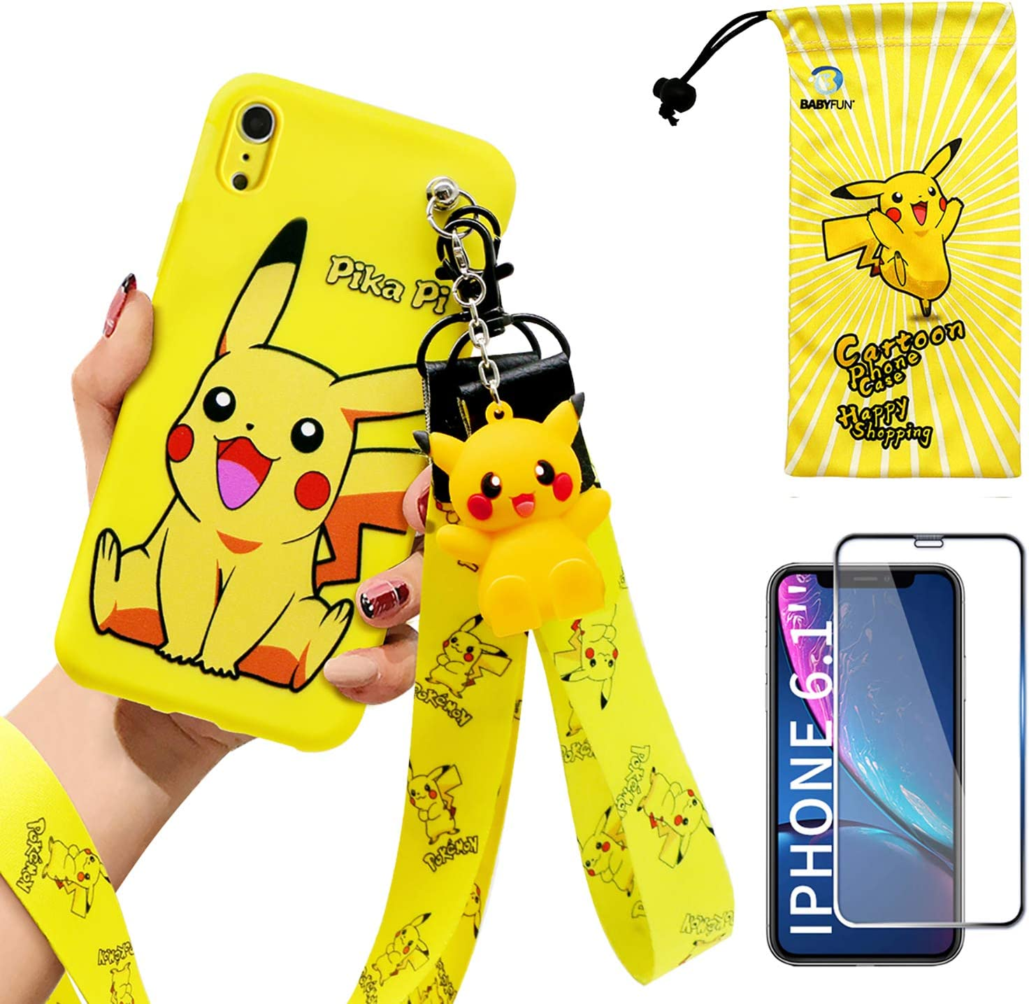 """iPhone XR case with HD Screen Protector, Cute Pikachu Cartoon Anime 3D Character Silicone Cover Case for Apple iPhone XR 6.1"""" with 2 Lanyard, 1 Cell Phone Stand, 1 Phone Storage Bag"""