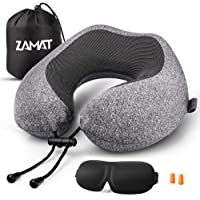 ZAMAT Memory Foam Travel Pillow, 360°Support Neck Pillow for Airplane Travel, Adjustable Compact Comfort with Earphone, Breathable & Washable Case, 3D Eye Masks, Earplugs & Carring Bag (Gray)