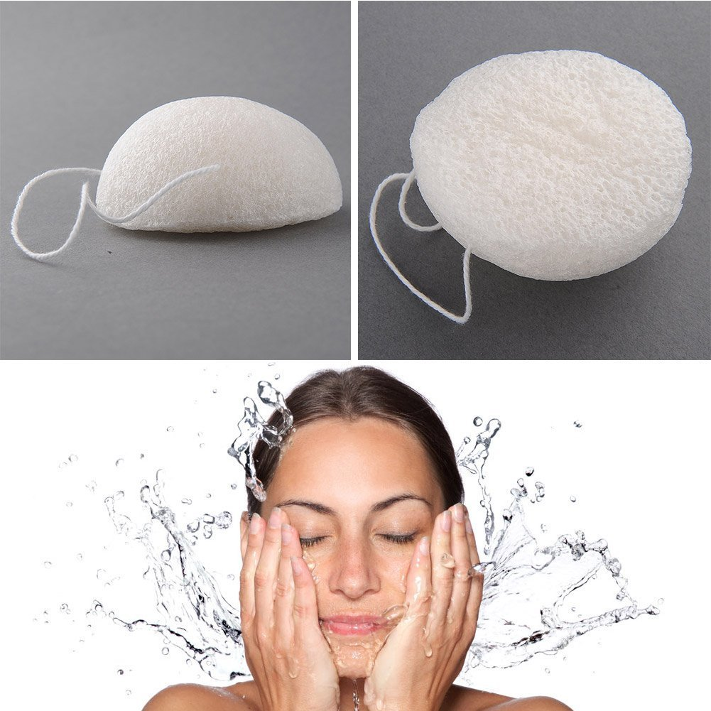 2 Pack Natural Fiber Jelly Konjac Face Cleansing Sponge Wash Pad Facial Washing Makeup Remover Puff White + Green ZGY