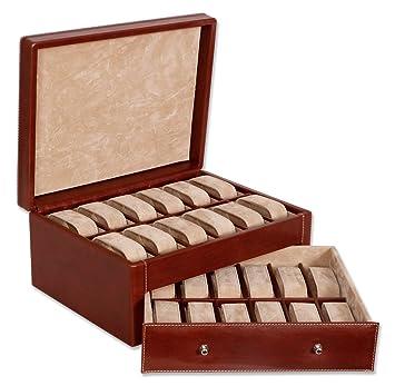 Relojero o estuche para relojes, fabricado en madera forrada en excelente imitación á piel,