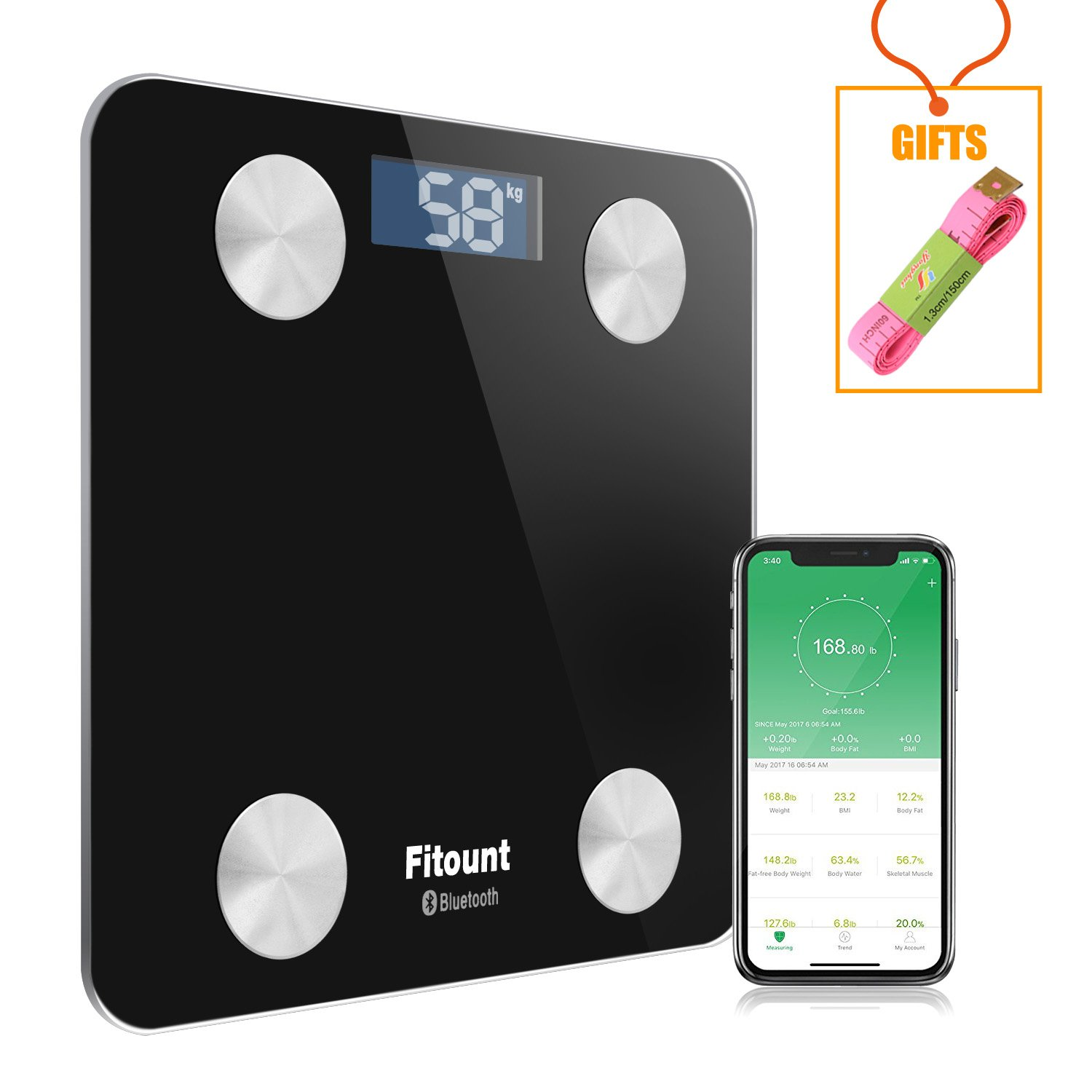 Bluetooth Body Fat Scale,Fitount Smart Wireless Digital Bathroom Weight Gurus Scale Body Composition Analyzer with App for Body weight Body Fat Water Muscle Mass BMI BMR Bone Mass Visceral Fat