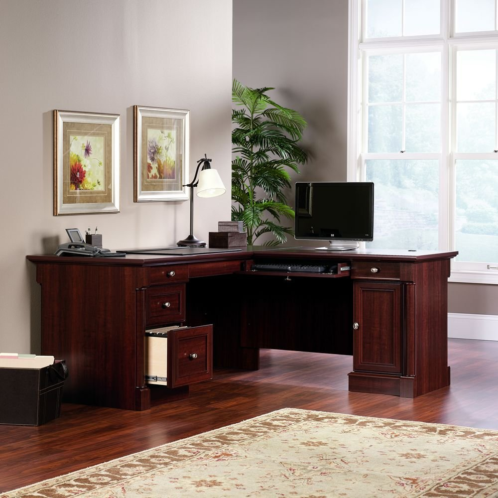 amazoncom sauder palladia l shaped desk in select cherry kitchen dining