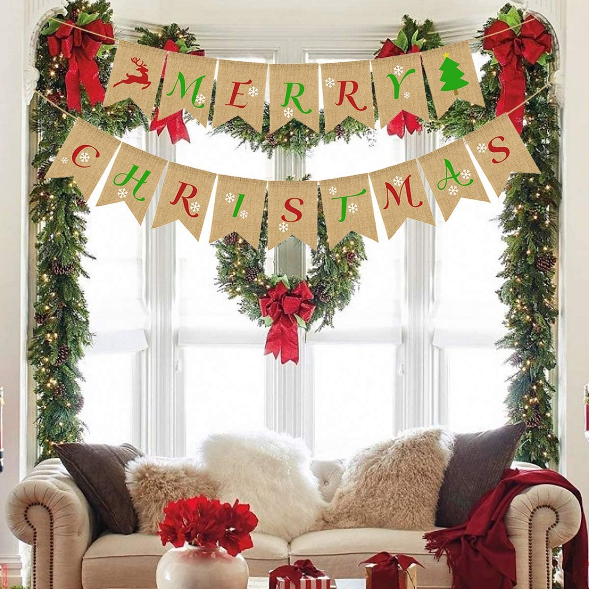 Merry Christmas Burlap Banners,Christmas Banner,Christmas Party Burlap Garland Holiday Bunting Indoor Outdoor Sign Decoration