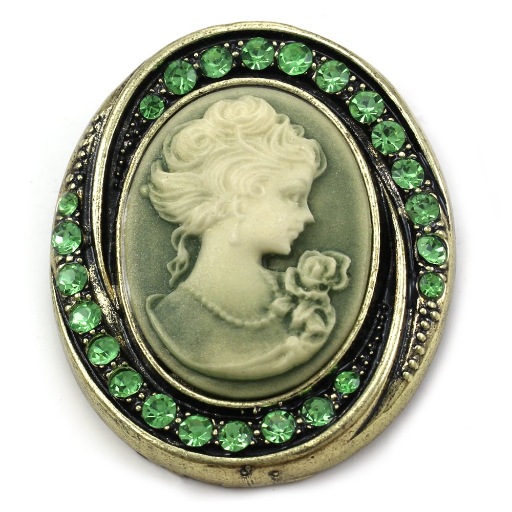 Green Cameo Brooch Pin Rhinestones Fashion Jewelry for Women