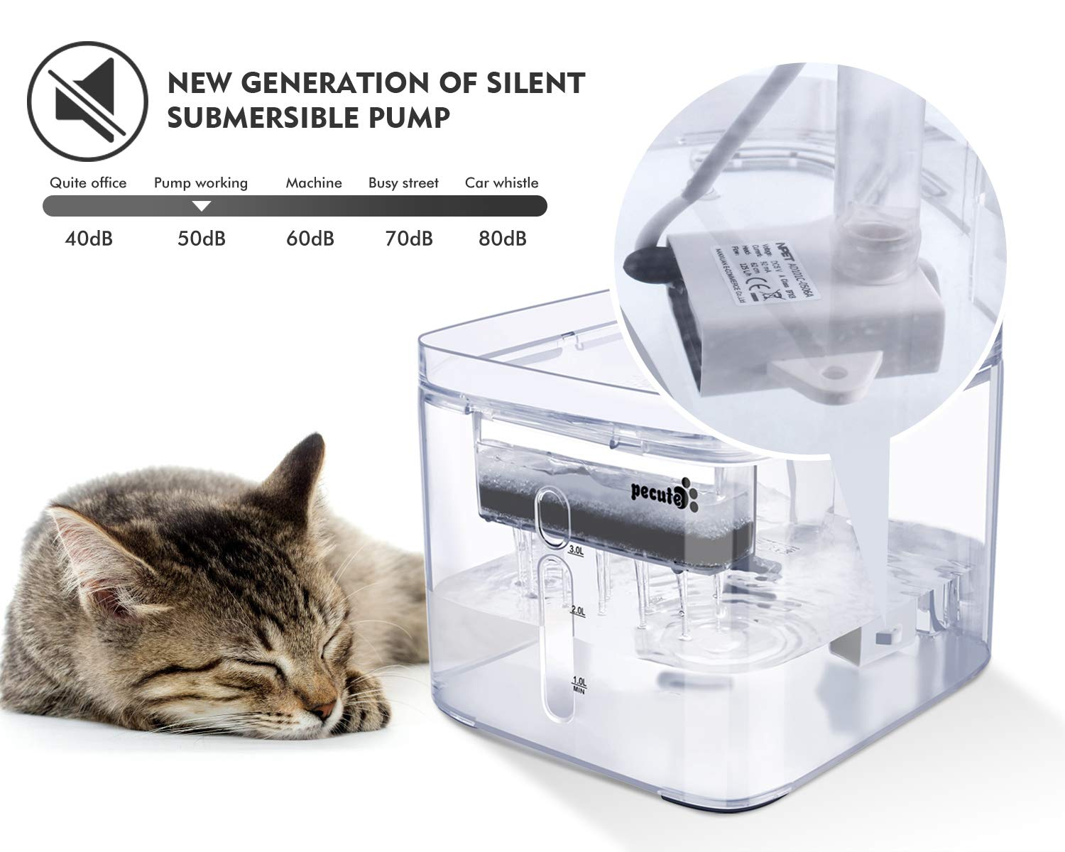 Pecute Cat Water Fountain, 3L/3 Outlet Mode Automatic Pet Water Fountain Transparent Design Dog Water Dispenser with 2 Reusable Filter for Cats, Dogs, Multiple Pets