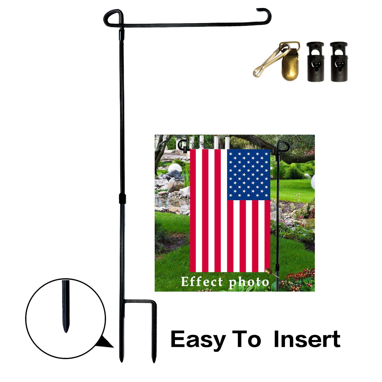 VIEKEY Garden Flag Pole Stand Holder Stakes Iron with Flag Stoppers and Clip Weather Proof Paint