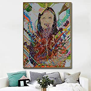 KMAOMAOZSH Prints Canvas,Filipino Graffiti Women Design Canvas Painting Art Print Abstract Poster Pattern Wall Painting Modern Decor Home for Corridor Living Room Bedroom@60X90Cm_No_Frame
