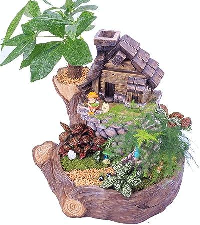 Escultura De Jardín Plantas de maceta creativas plantas de maceta Mini Fairy Garden Sweet House Flower