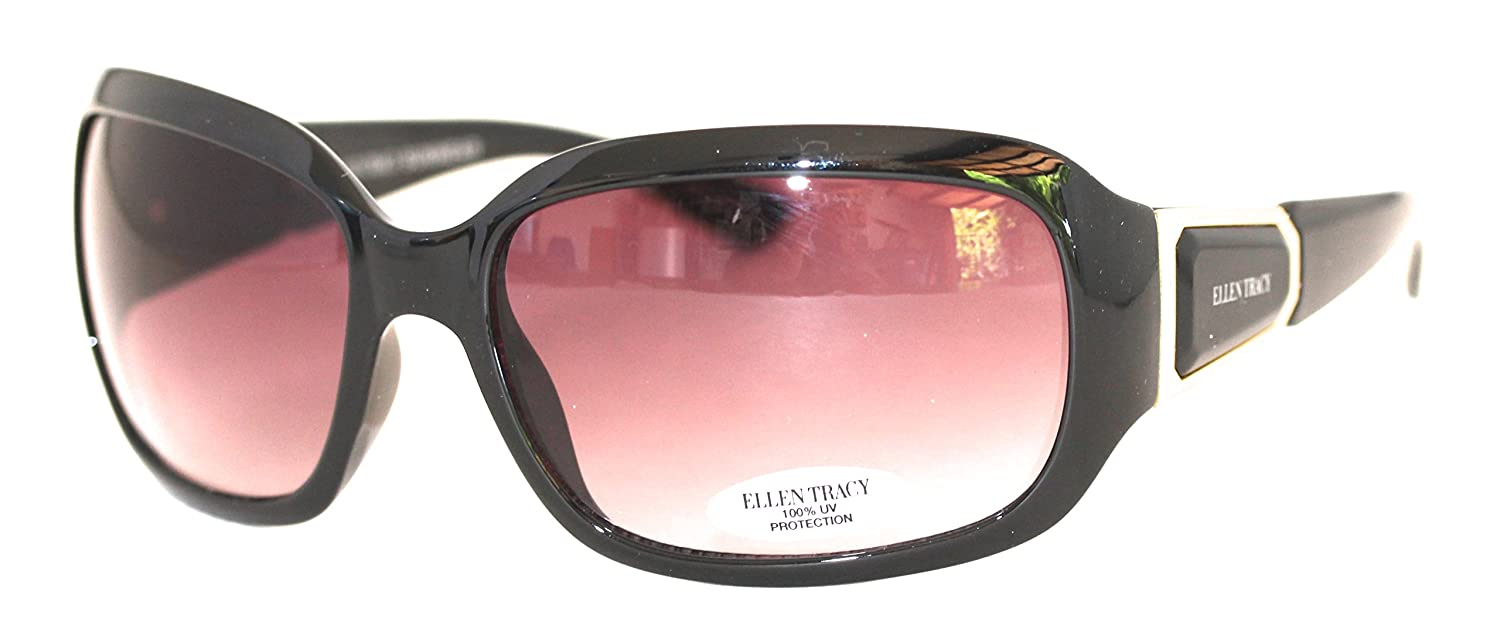 24e79eb523 Amazon.com  Ellen Tracy Sunglass Rectangle Black Fashion Plastic ...