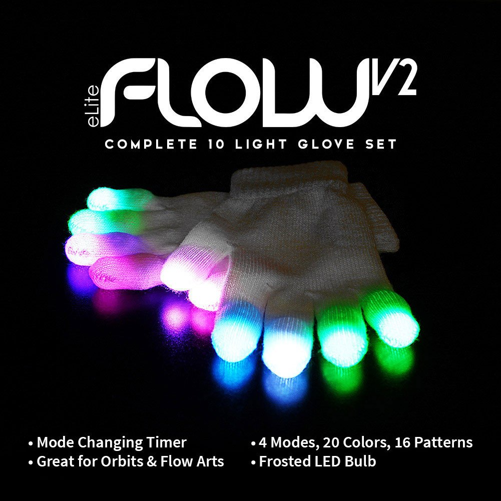 EmazingLights Elite Flow Light Up Glove Set - Flashing Finger Light LED Gloves for Raves & Light Shows Featured on Shark Tank by EmazingLights (Image #1)
