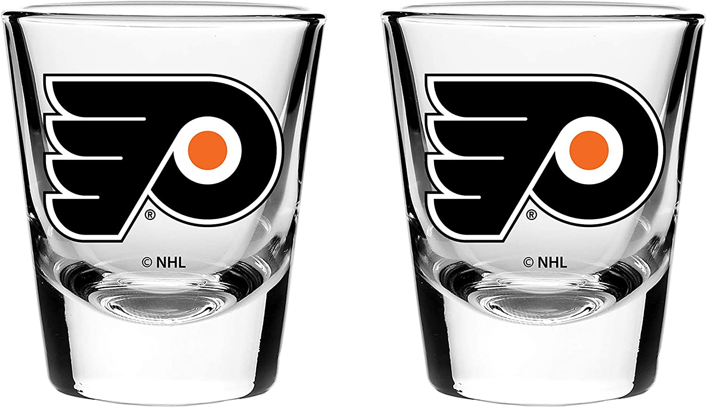 The Sports Vault 2 Pk Shot Glass Set Philadelphia Flyers