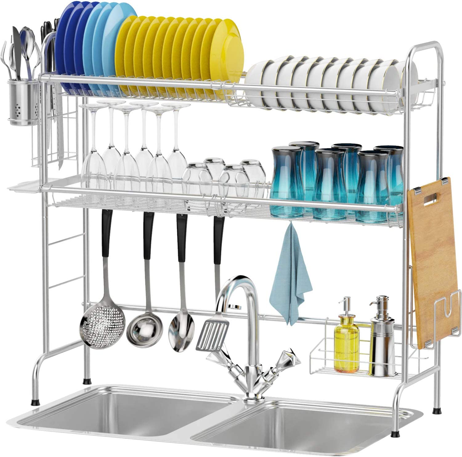 Over the Sink Dish Drying Rack, Packism 2 Tier Dish Rack with Utensil Holder Large Over Sink Dish Rack Shelf, Stainless Steel Dish Drainer for Kitchen Counter Top, Non-Slip, Anti-Rust, Silver