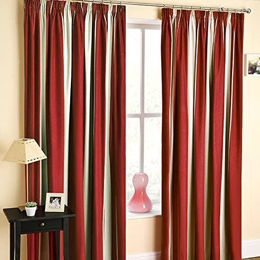 TWILIGHT STRIPED PRINT TWO TONE RED / NATURAL / CREAM 46u0026quot;X72u0026quot;  CURTAINS