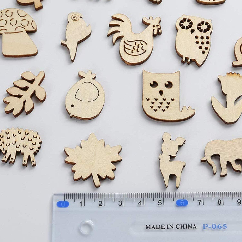 Wohlstand 100 St/ück Verschiedene Tiere Holz Scheiben,Naturholzscheiben f/ür DIY Handwerk Verzierungen,N/ähen Handwerk