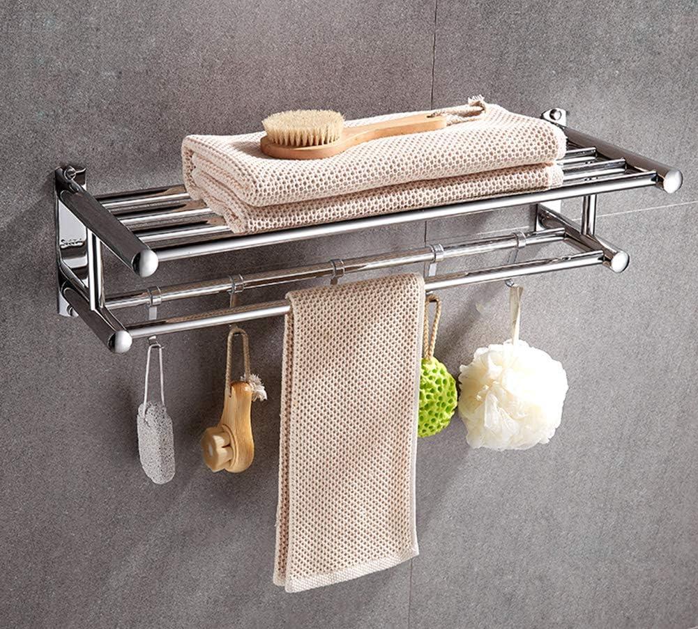Soporte de pared para toallas,acero inoxidable//sin perforaciones//doble capa//sin taladro//anillo de toalla//cl/ásico montado en la pared//ba/ño//cocina Barra de toalla