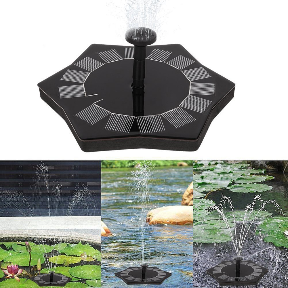 Wingbind Solar Fountain Pump,Garden Pool Patio Pond Floating Birdbath Ornamental Decoration,1.4W Black Solar Powered Water Pump