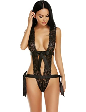 Vansop Women Deep Plunge Teddy Lingerie Sexy One Piece Lace Babydoll with  Self Ties 891a03add