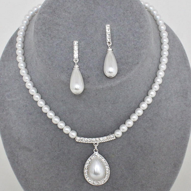 Schmuckanthony Fino pendientes de y novia joyas cadena larga pendientes  B078Y7DBHV de perlas y cristal blanco con - 950a48c f529c869d61