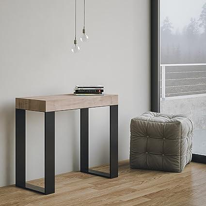 Tecno - Mesa/consola extensible fabricada en Italia, color roble ...