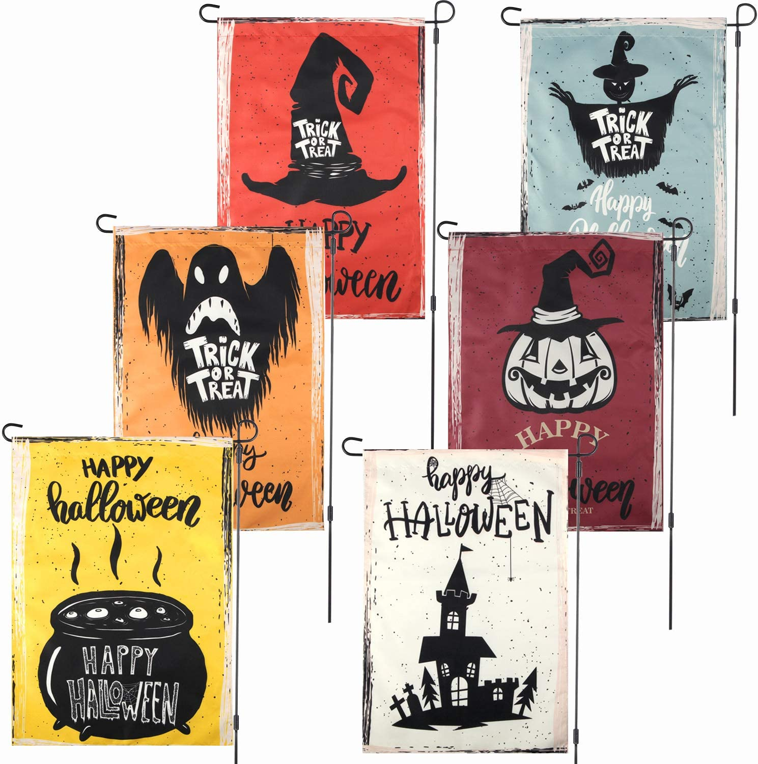 Boao Set of 6 Halloween Home Garden Flags Double-Sided Garden Outdoor Yard Flags Trick or Treat Ghost Pumpkin Witch Spooky Scarecrow Garden Flags for Happy Halloween Party Decor (12.5 x 18 Inch)