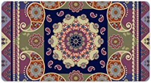 Ethnic Indian Paisley and Flower Mandala Desk Pad Multifunctional Keyboard Mouse Pad Non-Slip Laptop Mat Blotter Protector for Office/Home