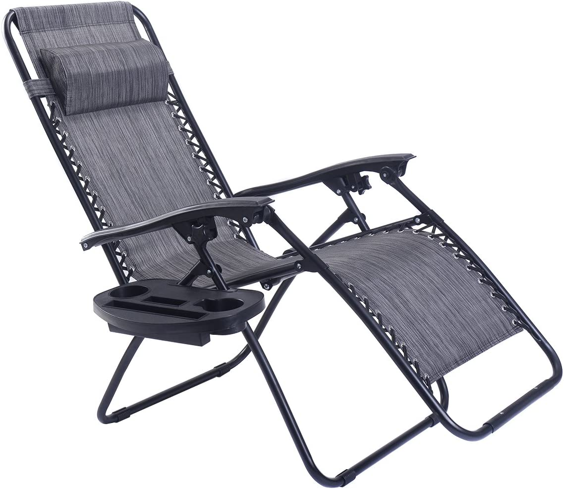 Heavy Duty Zero Gravity Reclining Chair Folding Deck Lounge Portable Handle Tray