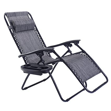 Enjoyable Goplus Folding Zero Gravity Reclining Lounge Chairs Outdoor Beach Patio W Utility Tray Grey Alphanode Cool Chair Designs And Ideas Alphanodeonline