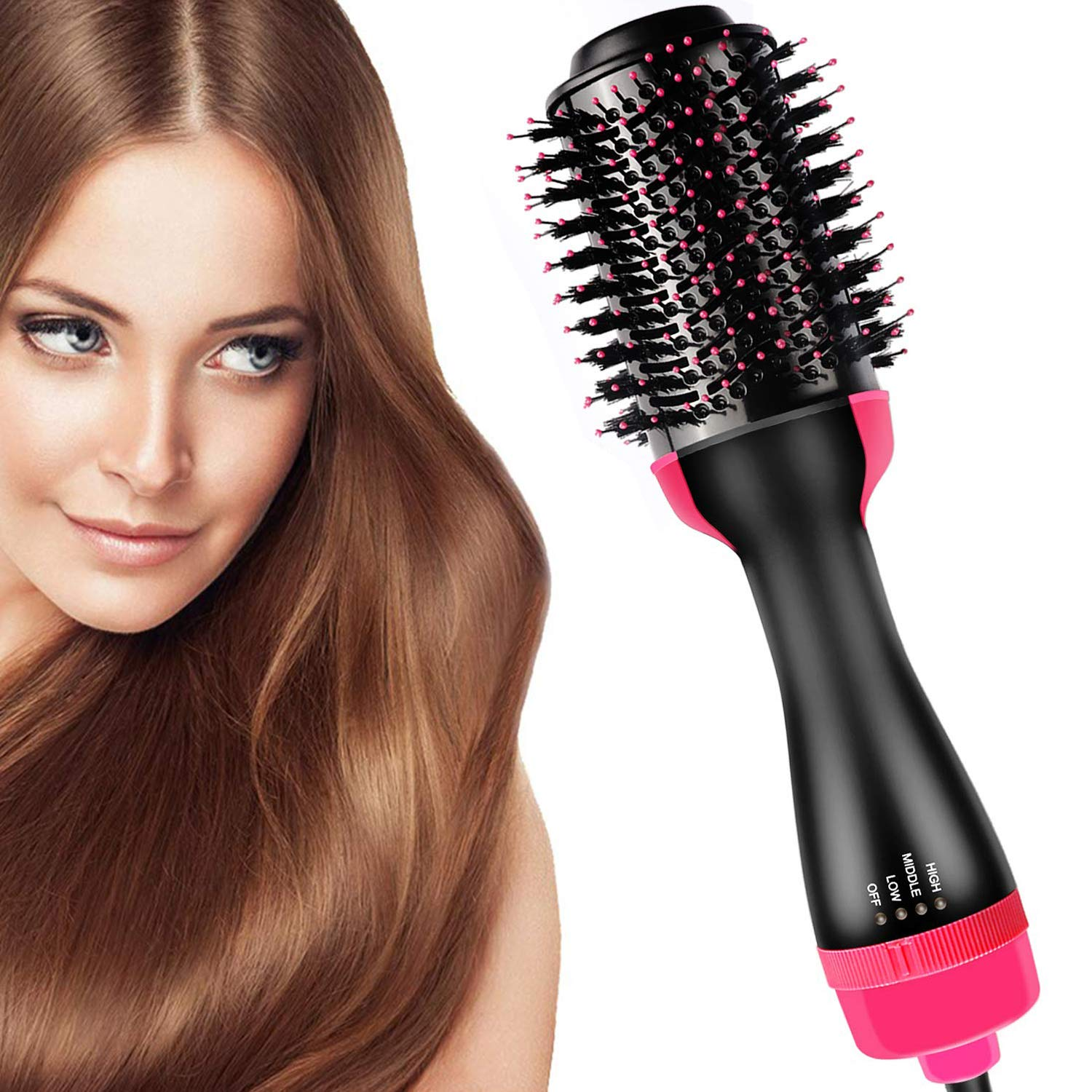 Hair Dryer Brush and Hot Air Brush, Bvser Air Hair Brush 3 in 1 Electric One Step Hair Dryer Volumizer with Negative Ion Curling Dryer Brush Styler, Hair Straightening Brush, Rotating Blow Dryer Brush