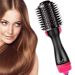 Hair Dryer Brush and Hot Air Brush, Bvser Air Hair Brush 3 in 1 Electric One Step Hair Dryer Volumizer with Negative Ion Curling Dryer Brush Styler, Hair Straightening Brush, Rotating Blow Dryer Brush