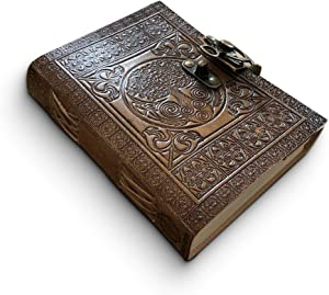 Leather Journal Handmade by DreamKeeper - Celtic Embossed Travel Notebook - Original Antique Tree of Life Design - Plain Khadda Paper Made with Recycled Cotton - Beautifully Crafted Book to Gift