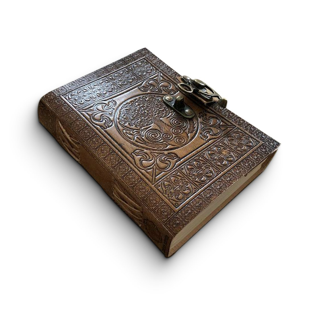 Leder Tagebuch handgefertigt - keltisch geprägtes Reise Notizbuch – Design Antiker Baum des Lebens