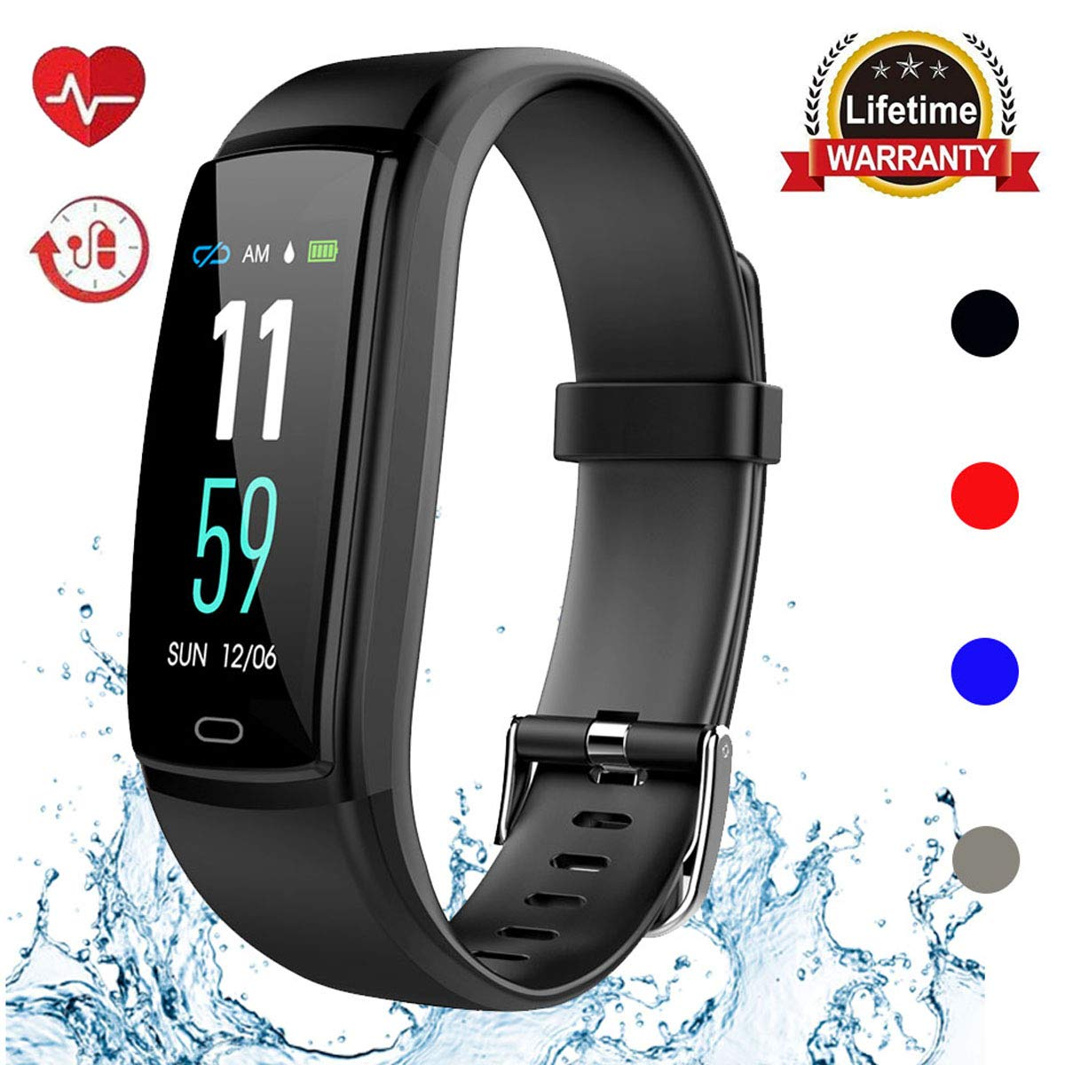 Mgaolo Fitness Tracker HR, Activity Tracker Waterproof Smart Watch Wristband with Heart Rate Blood Pressure Pedomete for Android and iPhone (Black) by Mgaolo (Image #1)