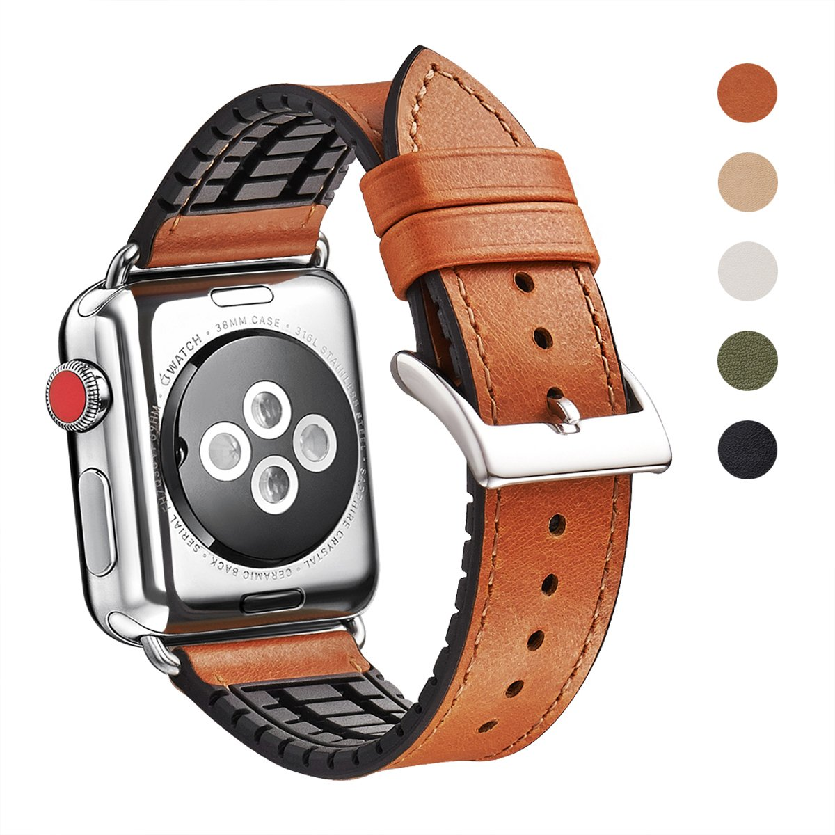 WFEAGL Compatible Apple Watch Band 38mm, Top Grain Leather And High-Quality Nature Rubber Hybrid Sweatproof Band Replacement Strap for iWatch Series 3,Series 2,Series 1,Sport (38mm Brown Hybrid Band)