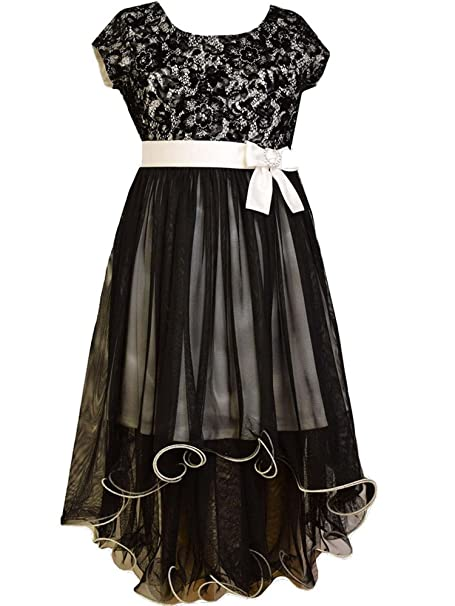 Steampunk Kids Costumes | Girl, Boy, Baby, Toddler Girls 4-16 Black/White Bonded Lace-n-Tulle High Low Social Dress $38.99 AT vintagedancer.com